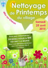 AFFICHE nettoyage de printemps du village Alby-sur-Chéran 2015.png